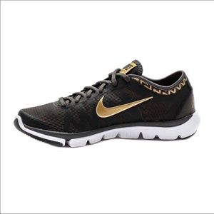 Nike Black and Gold Flex Supreme TR3 Running Shoes